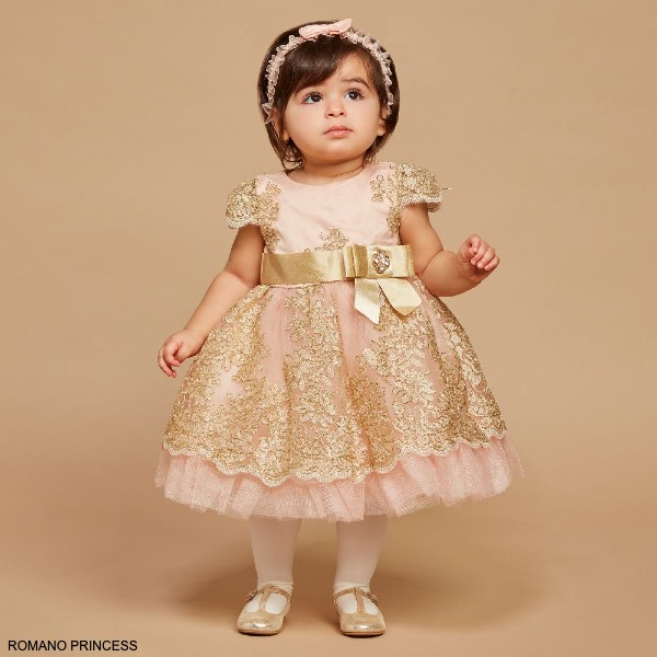 Romano Baby Girls Pink Gold Lace Special Occasion Dress