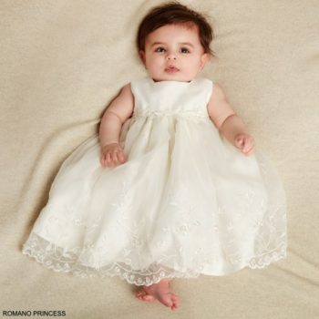 Romano Baby Girls Ivory embroidered Organza Special Occasion Dress Jacket
