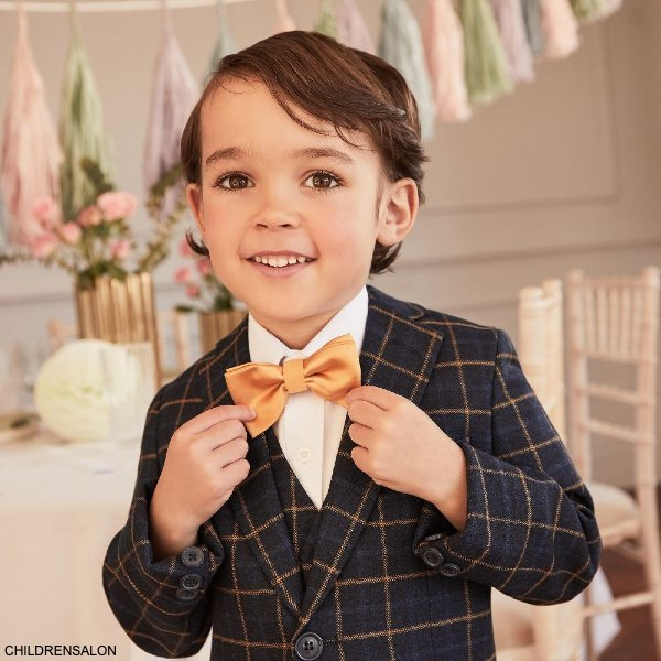 Romano Boys Navy Blue Beige Check 3 Piece Special Occasion Suit