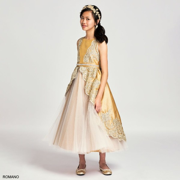 Romano Princess Girls Gold Tulle Lace Special Occasion Dress