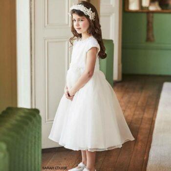 Sarah Louise Girls Ivory Satin Organza Flower Girl Dress