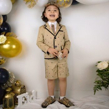 Burberry Kids Boys Beige Monogram Stars Blazer Jacket Shorts Suit