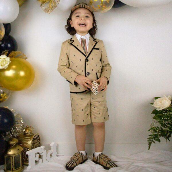 Burberry Kids Boys Beige Monogram Stars Blazer Jacket Shorts Suit