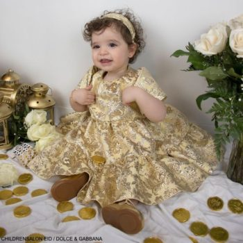 Dolce Gabbana Baby Girl Gold Jacquard Eid Holiday Party Dress