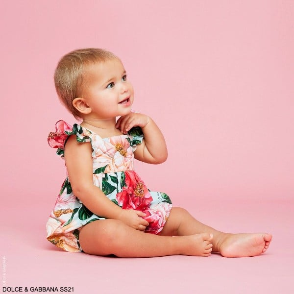 Dolce Gabbana Baby Girl Mini Me Blue Pink Camellia Floral Print Shortie