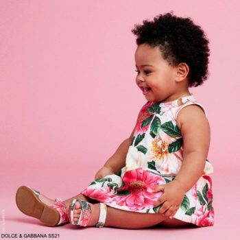 Dolce & Gabbana Baby Girl Mini Me Pink Camellia Floral Print Dress