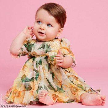 Dolce Gabbana Baby Girl Yellow Silk Camellia Floral Print Dress Set