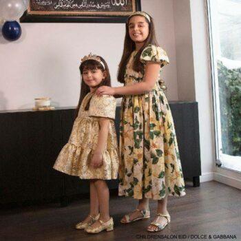 Dolce Gabbana Girls Gold Lame Jacquard Eid Holiday Party Dress