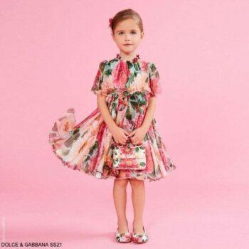 Dolce Gabbana Girls Mini Me Pink Silk Camellia Floral Print Dress