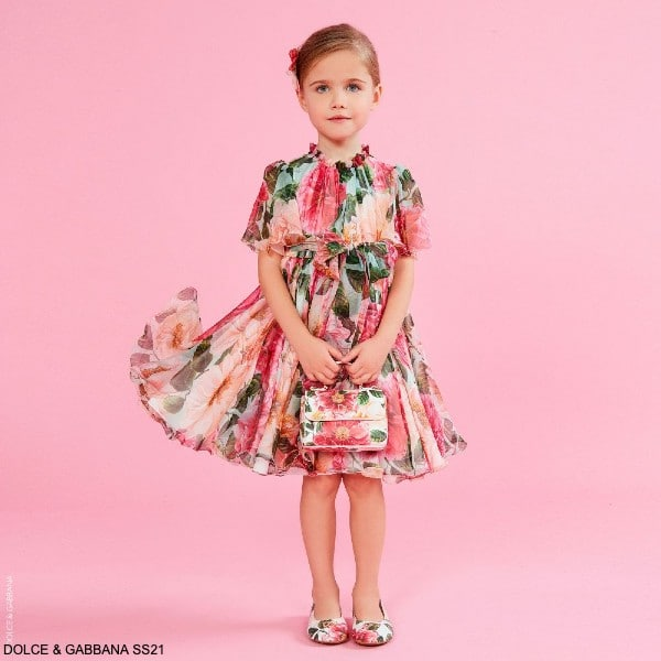 Dolce Gabbana Girls Mini Me Pink Silk Camellia Floral Print Dress