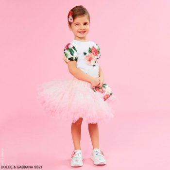 Dolce Gabbana Girls Mini Me White Cotton Camellia Floral Print Tshirt Pink Tutu Skirt