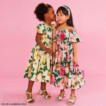 Dolce Gabbana Girls Mini-Me Yellow Pink Camellia Floral Print Dress
