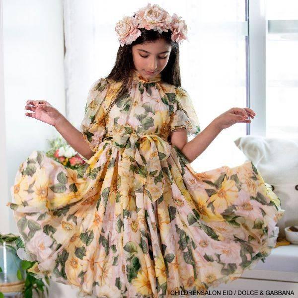 Dolce Gabbana Girls Mini-Me Yellow Silk Camellia Floral Print Dres