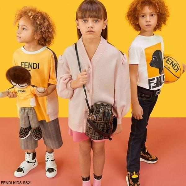 FENDI Kids Girls Pink Cotton Cardigan Sweater Bright Pink FF Logo Shorts