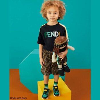 Fendi Kids Boys Black Colorful Logo Shirt Brown FF Logo Shorts