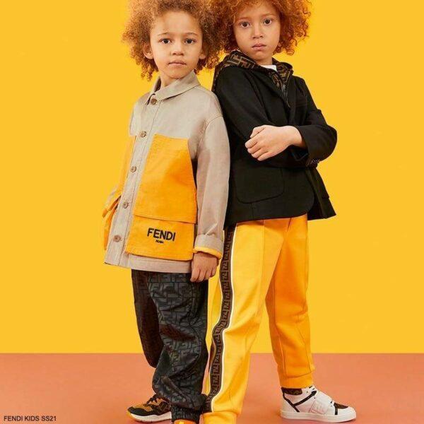 Fendi Kids Boys Black Wool Blazer Brown FF Logo Hood Yellow Track Pants