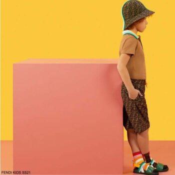 Fendi Kids Boys Brown Polo Shirt FF Logo Bermuda Shorts