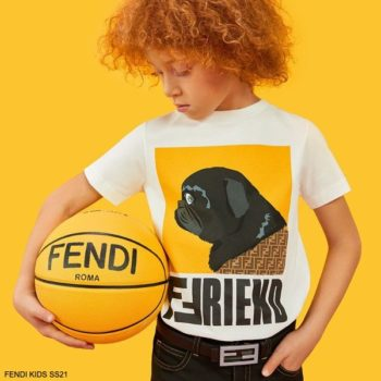 Fendi Kids Boys White Yellow FF Friend Bulldog T-shirt