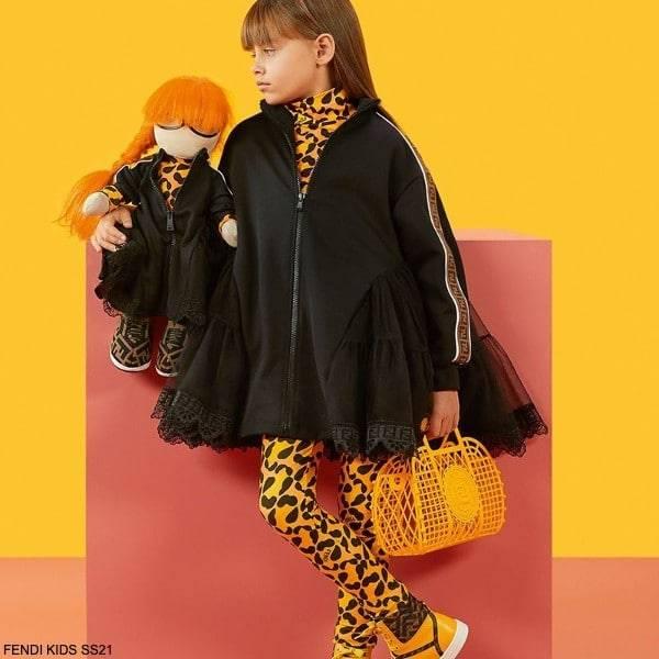 Fendi Kids Girls Black FF Logo Lace Trim Zip Up Dress Orange Leopard Print Shirt Leggings