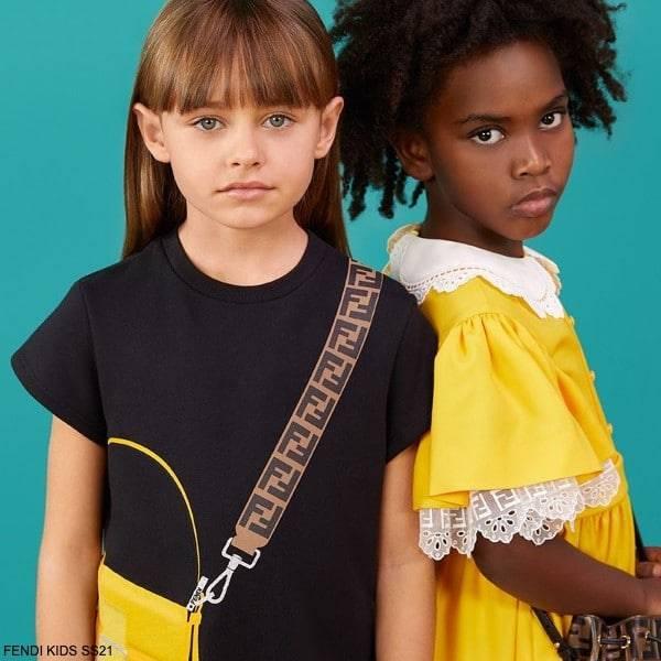 Fendi Kids Girls Black Trompe L'oeil Yellow FF Logo Baguette Bag Dress