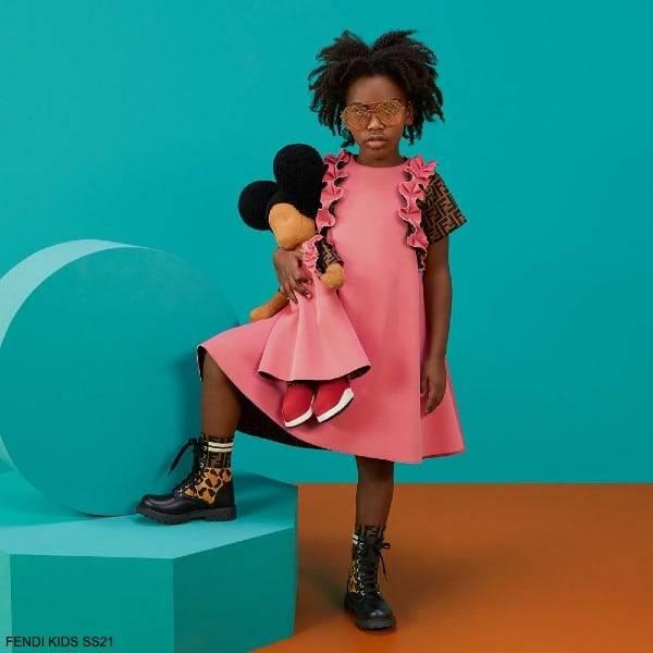 Fendi Kids Girls Dark Pink & Brown FF Logo Ruffle Dress