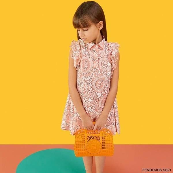 Fendi Kids Girls Pink Paisley Logo Special Occasion Dress