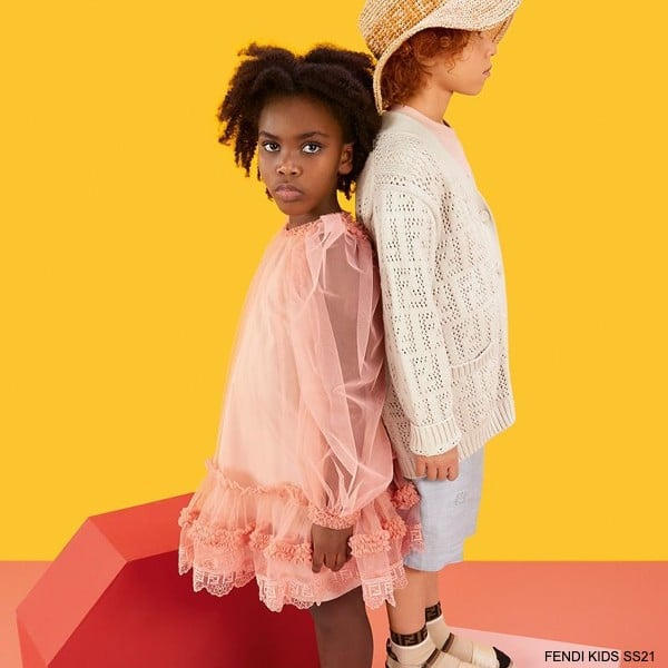 Fendi Kids Girls Pink Tulle Long Sleeve Special Occasion Dress