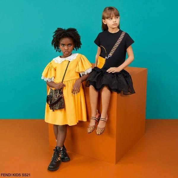 Fendi Kids Girls Yellow Wool White Lace Collar Party Dress