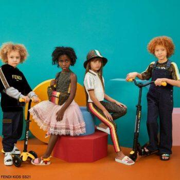 Fendi Kids White Polo Shirt Brown FF Logo Side Stripe Leggings