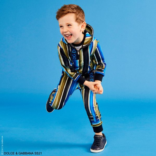 Dolce Gabbana Boys Blue Green Striped Tracksuit Jacket Joggers