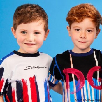 Dolce Gabbana Boys Mini Me DG Blue Red Brush Stroke Striped T-Shirt
