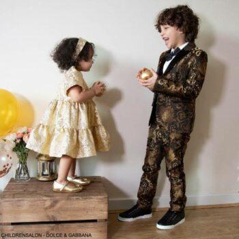 Dolce Gabbana Boys Mini Me Gold Black Brocade Special Occasion Blazer Jacket Suit