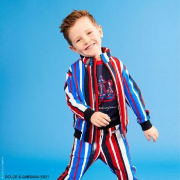 Dolce Gabbana Kids Boy Blue Red Brushstroke Tracksuit Jacket Joggers Crown Shirt