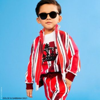 Dolce Gabbana Kids Boys Mini Me Red White Brushstroke Stripe Track Suit Jogger Pants Crown Shirt