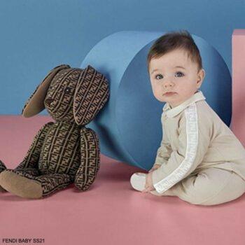 Fendi Baby Beige FF Logo Long Sleeve Babygrow Gift Set