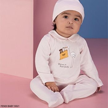 Fendi Baby Girl Pink Welcome to the Fendi Family Stork Gift Set