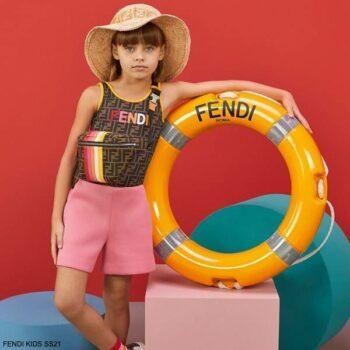 Fendi Kids Girls Brown FF Logo Tank Shirt Bright Pink Logo Shorts