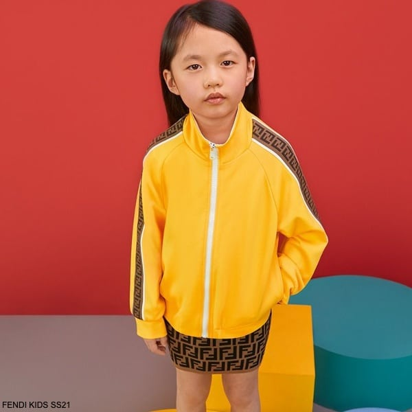 Fendi Kids Girls Yellow Tracksuit Jacket Brown FF Logo Mini Skirt