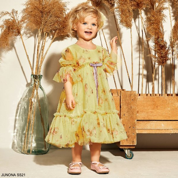 Junona Baby Girls Yellow Purple Floral Print Tulle Special Occasion Dress