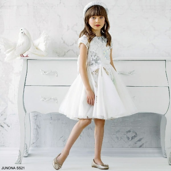 Junona Girls Ivory Gold Silver Butterfly Tulle Special Occasion Dress