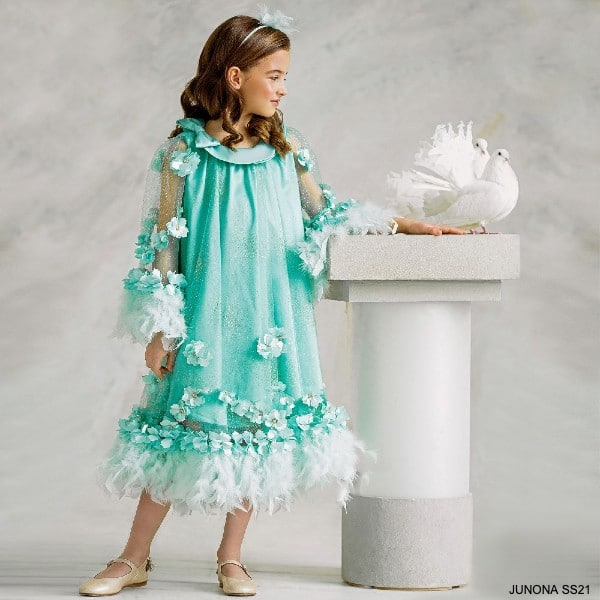 Junona Girls Mint Green Glittery Tulle Diamante Floral Feather Special Occasion Dress