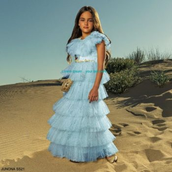 Junona Girls Light Blue Glittery Tiered Tulle Ankle Length Special Occasion Dress