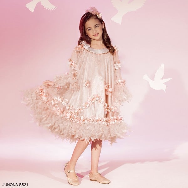 Junona Girls Pale Pink Tulle Diamante Floral Feather Special Occasion Dress