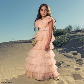 Junona Girls Pink Glittery Tiered Tulle Ankle Length Special Occasion Dress