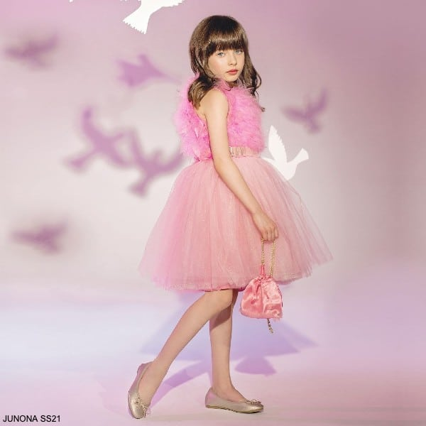Junona Girls Pink Tulle Feather Special Occasion Dress Purse Set