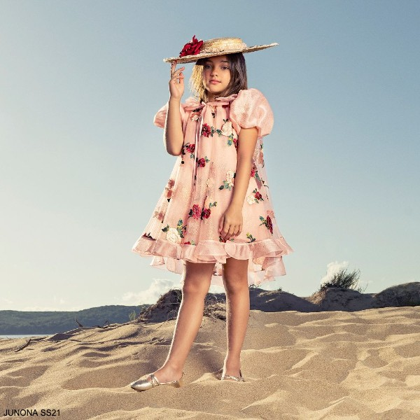 Junona Girls Pink Tulle Rose Emroidered Puffed Sleeve Special Occasion Dress
