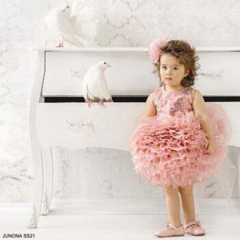 Junona Kids Little Girls Pink Puff Tulle Sequin Butterfly Party Dress