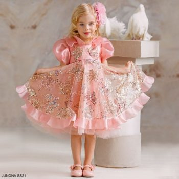 Junona Little Girls Pink Tulle Gold Sequin Butterfly Party Dress