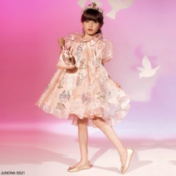 Junona Teen Girls Pink Tulle Gold Sequin Butterfly Special Occasion Dress