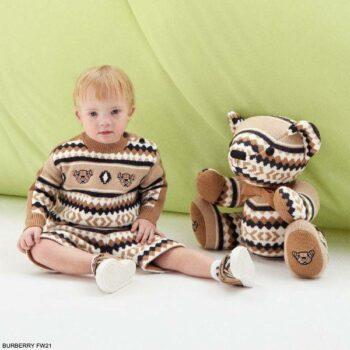 Burberry Baby Boys Beige Ivory Fair Isle Thomas Teddy Bear Wool Sweater Shorts